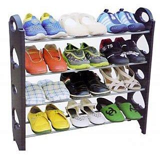 12 Pair Stackable Shoe Rack- 4 Tier
