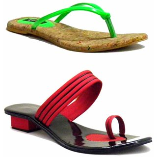 Indirang Attractive Slip On Flats And Heels Combo