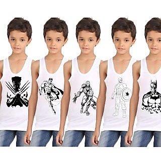 Superhero printed vests pack of 5 for boys
