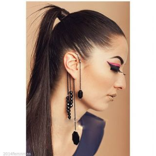 FemNMas  Black Gem Tassel Statement Ear Cuff