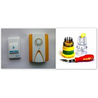 Combo Baoji Cordless Door Bell  Battery Operated Remote And Jackly 31 In 1 Tool