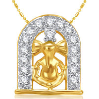 Sukkhi Cubic Zirconia Studded Ganesha Pendant With Chain (Design 11)