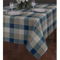 Airwill Check Design 8 Seater Table Cloths In Brown With Light Blue