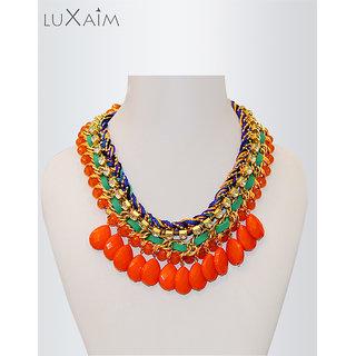 Multi Knit Orange Beads Crunchy Stones Necklace By Returnfavors