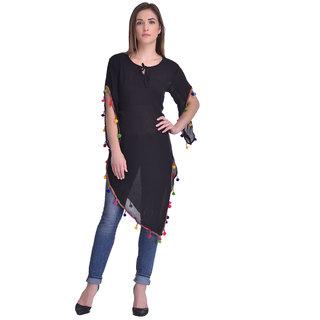 Westrobe Black Plain Round Neck Basic Top for Women