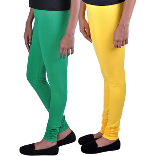 Womens Trendz Pack of 2 Yellow Forest Green Leggings
