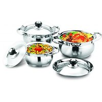 Garuda Fusion Stainless Steel 3 Psc Handi Set With Stainless Steel Lid Cover