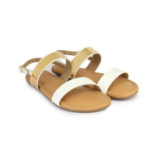 Do Bhai Sandal-Butterfly-White-Golden Sandals for Women
