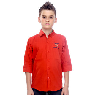 Mash Up Classic Rust cotton shirt for boys.
