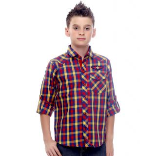 Mash Up Classy Maroon CheckeBlack;Blue shirt for Boys.