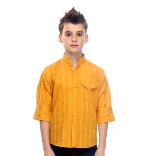 Mash Up Preppy yellow Mandarin Collar Cotton Shirt for Boys.