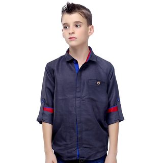 MashUp Premium Linen Grey Shirt For Boys.