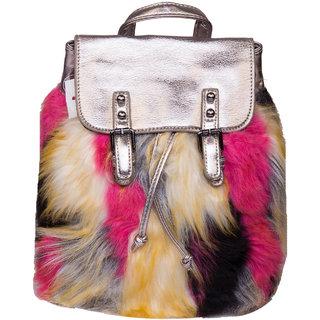 ILU Fur Backpack Bucket Bag Drawstring Bag Hand-held Bag Shoulder Bag Handbags for Women and Girls PU Medium Handbag Bag Bags