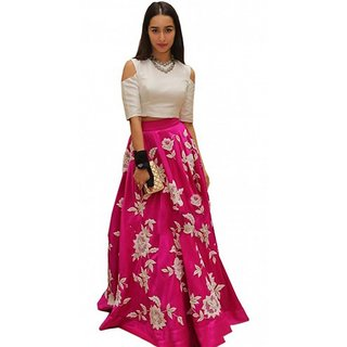 Bhuwal fashion Stylish Embroidered A line banglori silk semi stitch  lehenga choli - TM102