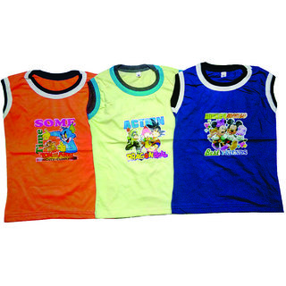BoysCotton Sleeveless Cotton T-shirt (Pack of 3)