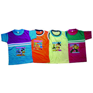 Boys Cotton Sleeveless Half Sleeveless Cotton T-shirt (Combo of 4)