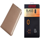 Micromax Vdeo 2 Q4101 Golden Leather Flip Cover with 9H Curved Edge HD Tempered Glass