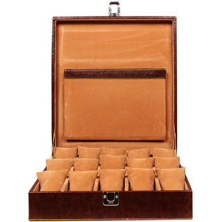 Leather World Brown Watch Box Case for 15 Watches (Guaranteed High Quality PU Leather)