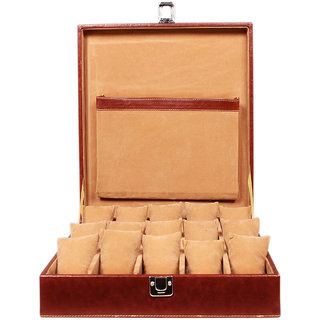 Leather World Maroon Watch Box Case for 15 Watches (Guaranteed High Quality PU Leather)