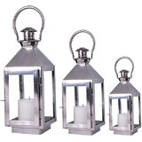 Steel Candle Lantern Set Of 03