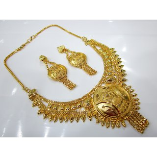 Traditional One Gram Gold Ethnic Look Jewellery Set With Lovely Earrings