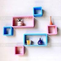 Wall Shelf Set Of Six Designer Wall Rack Shelves For Storage & Display-Pink/Sky