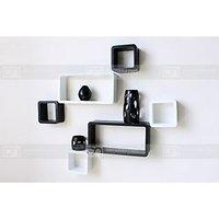 Wall Shelves Set Of 6 Cube & Rectangle Shelves Storage Display White / Black