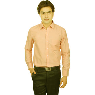 25th R Cotton Blend Peach Regular Fit Mens Formal Shirt