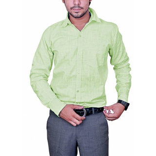 25th R Cotton Blend Light Green Regular Fit Mens Formal Shirt