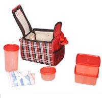 Topware red chek 6 pcs lunch set 4 Containers Lunch Box (1200 ml)
