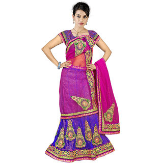 Surat Tex Designer Wear Purple Net & Brocket Unstitched Lehanga B57La3261Nafr
