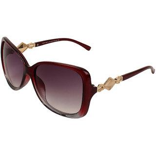 Zyaden Maroon Oversized Sunglasses Women 377