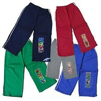 Kids Cotton Hosiery Multicolored Track Pant Set Of-5