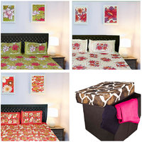 Set Of 3 Cotton Double Bedsheets With Pillow Covers And Storage Stool