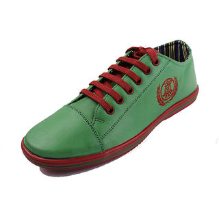 Doc & Mark Men'S Green Genuine Leather Sneakers