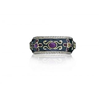 Ring With Classical Look With Enamel Work On Sterling Silver For Women-Slbr259-11