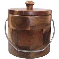 Wooden Ice Bucket With Metal Handle Medium