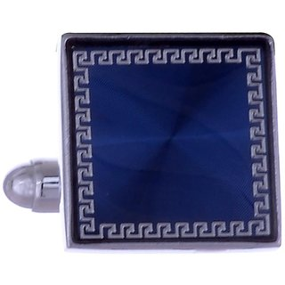 The Jewelbox Royal Blue Gold Plated Square Cufflink