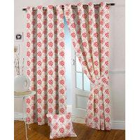 Presto Maroon Colour Jacquard Eyelet Door Curtains(7Ft)-ICGJ11F7