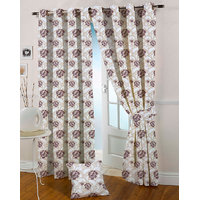 Presto Coffee Colour Jacquard Eyelet Door Curtains(7Ft)-ICGJ12F7