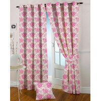 Presto Pink Colour Jacquard Eyelet Long Door Curtains(9Ft)-ICGJ14F9