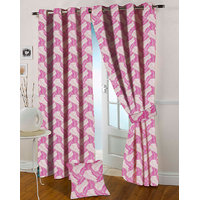 Presto Pink Colour Jacquard Eyelet Door Curtains(7Ft)-ICGJ34F7