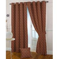 Presto Maroon Colour Jacquard Eyelet Window Curtains(5Ft)-ICMC01F5