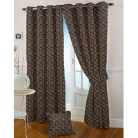 Presto Coffee Colour Jacquard Eyelet Long Door Curtains(9Ft)-ICMC03F9