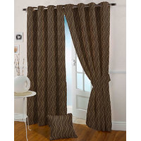 Presto Coffee Colour Jacquard Eyelet Door Curtains(7Ft)-ICMC13F7