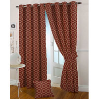 Presto Maroon Colour Jacquard Eyelet Long Door Curtains(9Ft)-ICMC41F9