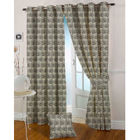 Presto Black Grey Colour Jacquard Eyelet Door Curtains(7Ft)-ICSA05F7