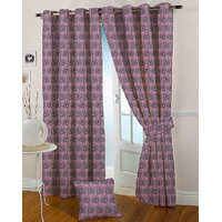 Presto Purple Colour Jacquard Eyelet Long Door Curtains(9Ft)-ICSA06F9
