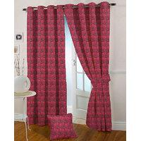 Presto Dark Pink Colour Jacquard Eyelet Door Curtains(7Ft)-ICSA07F7