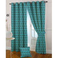 Presto Aqua Colour Jacquard Eyelet Long Door Curtains(9Ft)-ICSA09F9